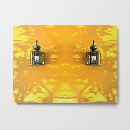 two indoor lighting with yellow and shadow of tree background Metal Print