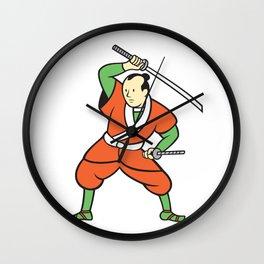 Samurai Warrior Wielding Katana Sword Cartoon Wall Clock