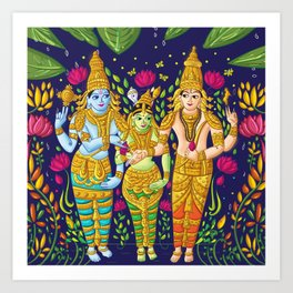 Madurai Meenakshi Sundareshwar Art Print