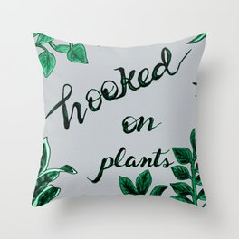 Hooked On Plants In Grey Throw Pillow