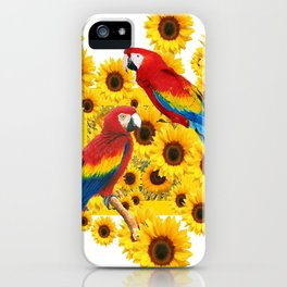 RED  & BLUE MACAWS LOVE YELLOW SUNFLOWERS ART iPhone Case