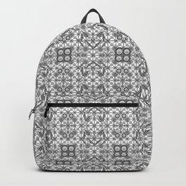 Tribal Batik, Grey / Gray, Black and White Backpack