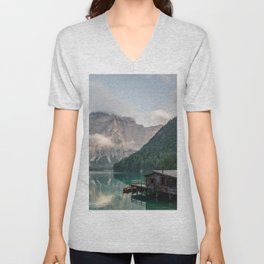 Mountain Lake Cabin Retreat Unisex V-Neck