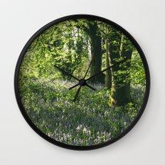 Wild Bluebells in ancient woodland. Wayland Wood, Norfolk, UK. Wall Clock