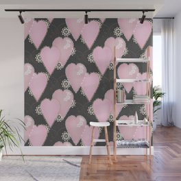 Retro . Applique. Textile pink hearts on a grey background . Patchwork . Wall Mural
