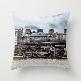 Grand Trunk and Western Railroad Switcher 8380 Rusty Steam Train Throw Pillow