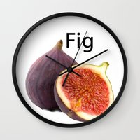 fig Wall Clocks featuring Fig by PerfectImperfections