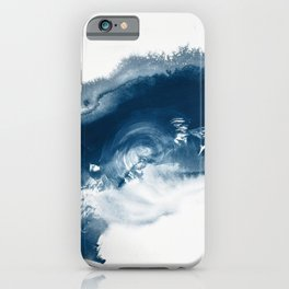 Building the Universe:  A minimal abstract acrylic painting in blue and white by Alyssa Hamilton iPhone Case