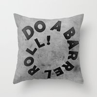 starfox Throw Pillows featuring STARFOX - DO A BARREL ROLL! by John Medbury (LAZY J Studios)