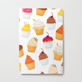 Dulce y sabrosa comida postre cupcake patrón transparente ilustración vectorial Metal Print