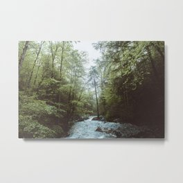 Peaceful Forest, Green Trees and Creek, Relaxing Water Sounds Metal Print