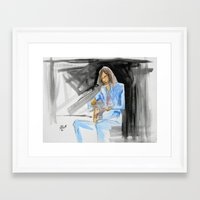 neil young Framed Art Prints featuring Neil Young On Guitar by Mark T. Zeilman