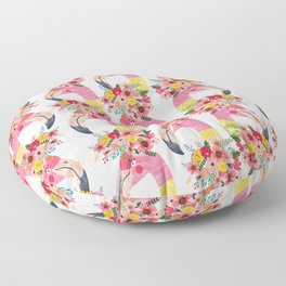 Pink flamingo with flowers on head Floor Pillow