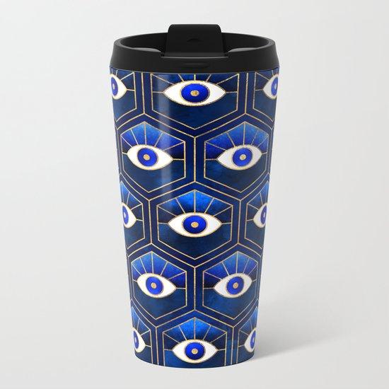 Eyes / Blue Metal Travel Mug