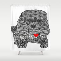 poodle Shower Curtains featuring Delightful - Poodle by DiAnne Ferrer