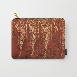 Caravans II:  Asian Print  willow tree branches, gold, orange watercolor Carry-All Pouch