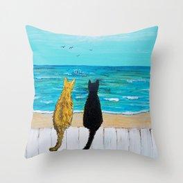 Seaside Cats Throw Pillow