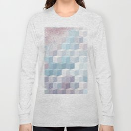 Distressed Cube Pattern - Pink and blue Long Sleeve T-shirt