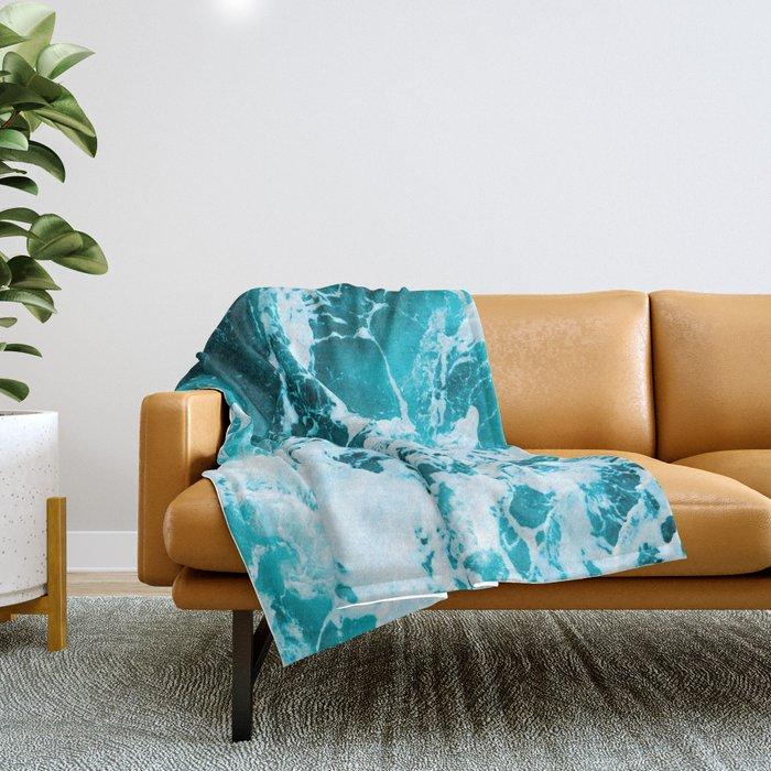 Deep Turquoise Sea - Nature Photography Throw Blanket
