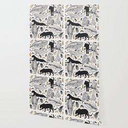 Wild Cats and Botanicals Wallpaper