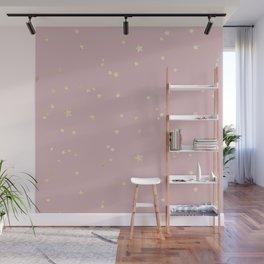 Pretty Pink & Gold Stars Wall Mural