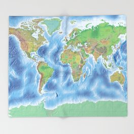 Physical world map with countries Throw Blanket