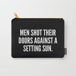 Men shut their doors against a setting sun Carry-All Pouch