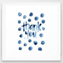 thank you (indigo dots) Framed Art Print