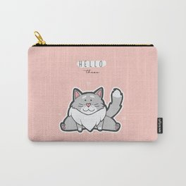 Pastel Colours | Cat | Cute | Sitting | Pink | Orange | Friendly Carry-All Pouch