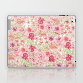 Pastel pink red watercolor hand painted floral Laptop & iPad Skin