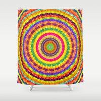 batik Shower Curtains featuring Batik Bullseye by Peter Gross