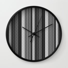 Grey,black Vertical stripes. Wall Clock