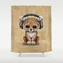 Cute Leopard Cub Dj Wearing Headphones Shower Curtain