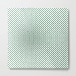 Grayed Jade and White Polka Dots Metal Print