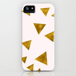 Soft Pink And Rustic Gold Triangles iPhone Case