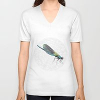 dragonfly V-neck T-shirts featuring Dragonfly by Matt McVeigh