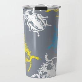 Beetles on Grey Background Pattern Travel Mug