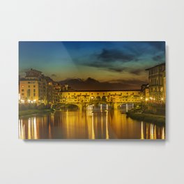FLORENCE Ponte Vecchio at Sunset Metal Print
