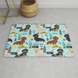 Dachshund dog breed NYC new york city pet pattern doxie coats dapple merle red black and tan Rug