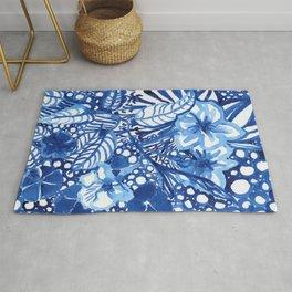 Blue summer floral pattern Rug