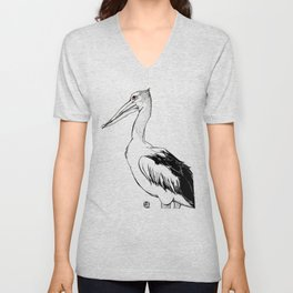 Reginald the Pelican Unisex V-Neck