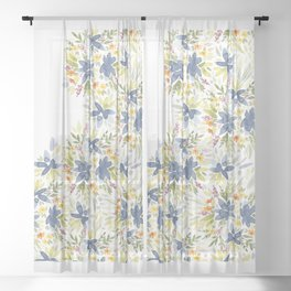Blue Watercolor Florals Sheer Curtain