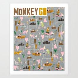 Monkey Go Art Print