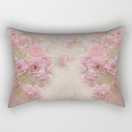 Pink Vintage Roses Rectangular Pillow