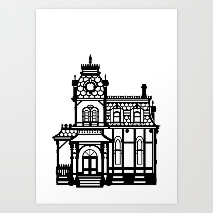 Old victorian house black white art print