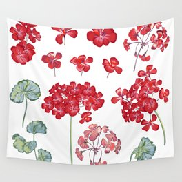Collection of vector geranium flowers for design in red color  Wall Tapestry