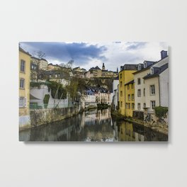 Traditional European Buildings in the Village of Grund Reflecting on the Water of the Alzette River in Luxembourg City, Luxembourg Metal Print