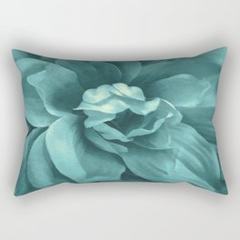 Soft Teal Flower Rectangular Pillow