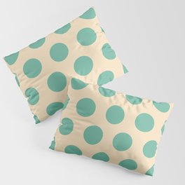 Colorful Mid Century Modern Polka Dots 525 Beige and Turquoise Pillow Sham
