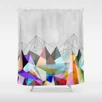 space Shower Curtains featuring Colorflash 3 by Mareike Böhmer